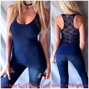 Navy Scoop Neck Sheer Lace Back Racerback Tank